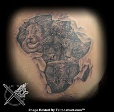 African Map With Wild Animals Grey Ink Tattoo