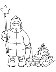 Click To See Printable Version Of Cute Boy With Christmas Star And Sled Coloring Page