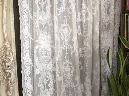 92 inch french lace curtains lydia antique style ivory cotton