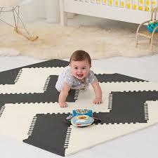 skiphop geo playspot foam floor tiles black cream amazon co uk baby