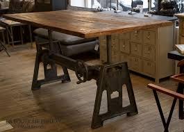 de repas industrielle lepic plateau bois et pied crémaillière