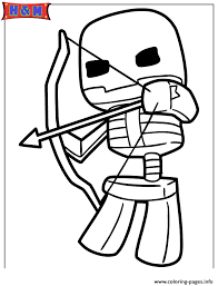 Minecraft Skeleton Shooting Bow And Arrow Coloring Pages