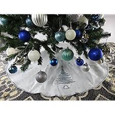 72 Inch Christmas Tree Skirts by Amazon Com Kurt Adler 48 Inch Silver Satin With Printed Border