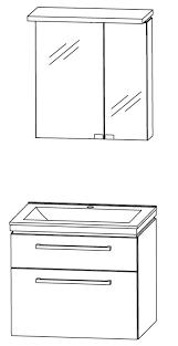 puris cool line badmöbel set 62 cm spiegelschrank mit gesimsboden inkl led flächenleuchte