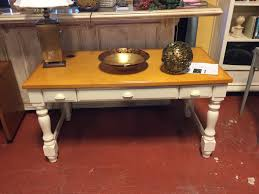 Pine Top Desk with White Base