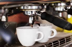Making Coffee In The Machine Morning Atmospheric Lighting Fashionable Trendy Spot Soft Focus