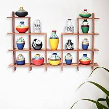 ExclusiveLane 16 Terracotta Warli Handpainted Pots With Sheesham Wooden Frame Wall Hanging Decor Shelves Home Decorative Gift Item