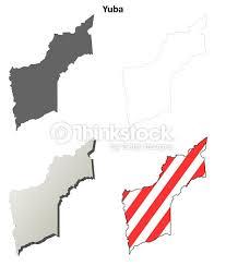 Yuba County California Outline Map Set Vector Art