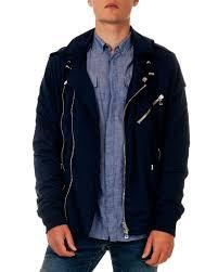 balmain double zip biker hoodie jacket in blue for men lyst