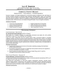 Sample Resume For A Commercial Property Manager