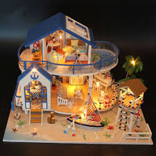 New Kits Diy Wood Dollhouse Miniature With Led Furniture Cover Doll