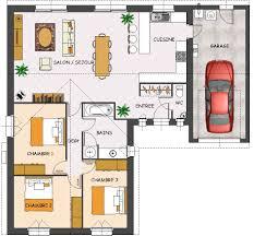 plan de maison de plain pied 3 chambres plan de maison duplex 3 chambres terrassefc