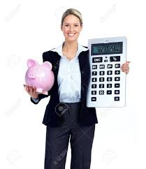 comptable femme d affaires avec la calculatrice banque d images
