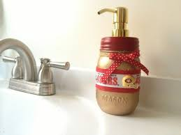 San Francisco 49ers Soap Dispenser Mason Jar By QUEENBEADER Decorating