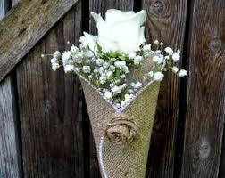 Flower Cones Burlap Decoration Rustic Church Pew Wedding