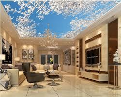 dekoration cedar baum decke 3d tapete für moderne wohnzimmer decke vlies tapete