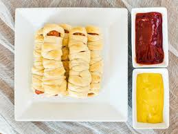 Halloween Hotdog Fingers Recipe by Halloween Recipe Mummy Dogs Hgtv