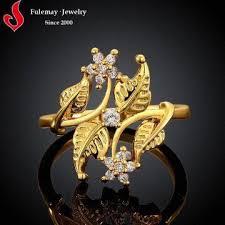 18K gold leaf design italian engagement rings FCR051 A B