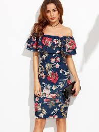floral print off the shoulder ruffle sheath dress makemechic com