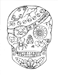 Sugar Skull Coloring Page Printable Day Of The Dead 3 Rugs Draw