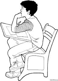 Coloring Page Boy At Desk