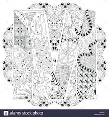 Adult Anti Stress Coloring Page Black And White Hand Drawn Illustration Mandala With Letter M For Book