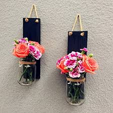 Set Of 2 Mason Jar Wall Sconces Hanging Candle Holder Country Rustic Decor