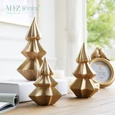 Miz 1 Piece Christmas Tree Ceramic Golden Color Pine Ice Cream Shape Decoration Gift