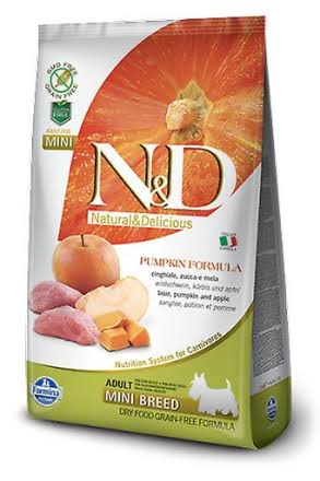 Natural and Delicious Grain Free Adult Mini for Boar - 7kg, Pumpkin and Apple