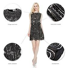 Cheap EXLURA Vintage Cocktail Party Dress 1920s Gatsby Beaded Sequin Little Black