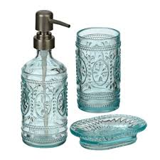 Beach Glass Bath Accessories by Antique Blue Embossed Glass 3 Pc Bath Set Kirklands