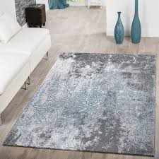 teppich wohnzimmer 3d effekt grau blau