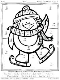 Christmas Color By Number Worksheets Addition Printable Winter