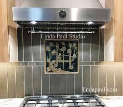 Modern Tile Backsplash Ideas For Kitchen Aspen Leaves Bronze Backsplash Plaque Medallion