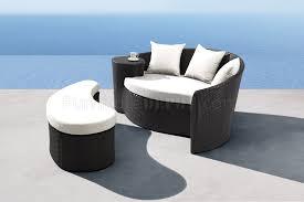 Black White Modern 2pc Outdoor Sofa Ottoman Set