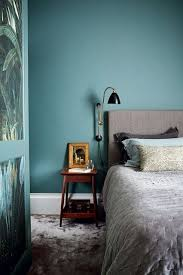 A Contemporary Teal Blue Bedroom With Grey Velvet Accessories In Ideas Modern