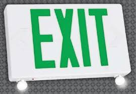 led combo emergency exit light white plastic with green lettering