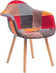 ts ideen 2er set design klassiker patchwork sessel retro 50er jahre barstuhl wohnzimmer büro küchen stuhl esszimmer sitz holz stoff bunt rot