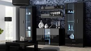 wohnwand soho 10 mit blauer led beleuchtung anbauwand wohnzimmerschrank schrankwand vitrine lowboard hängeregal schwarz schwarz hochglanz