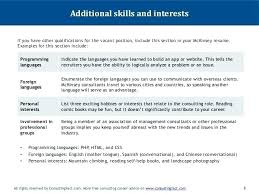 Personal Interests Examples On Resume Example Additional Skills Easy