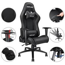 Anda Seat Racing Gaming Chair Adjustable Tilt PVC Leather High-back W/  Headrest & Lumbar Cushion Black Arozzi Milano Gaming Chair Black Best In 2019 Ergonomics Comfort Durability Amazoncom Cirocco Wireless Video With Speaker The X Rocker 5172601 Review Ultimategamechair Pro 200 Sound Enhancement Features 10 Console Chairs Sept Reviews Noblechair Epic Chair El33t Elite V3 Pu Details About With Speakers Game For Adults Kids