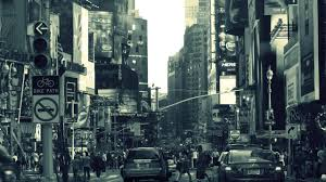 Architecture Monochrome Building New York City USA Street Car People Crowds Traffic Lights Road Sign Urban Billboards Filter Wallpapers HD