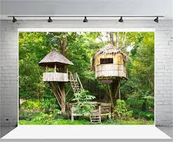 100 Tree House Studio Wood Amazoncom AOFOTO 8x6ft En Backdrop Tropical Forest