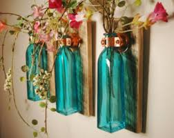 Square Glass Bottle Trio Mounted On Wood Base For Unique Rustic Wall Decor Bedroom Kitchen