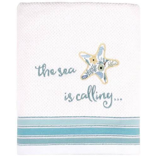 Saturday Knight Seaside Blossoms Bath Towel Collection Blue, White Hand Towel
