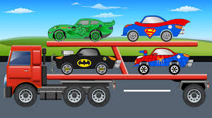 Auto Transport Truck - SuperHeroes Cars - Cars For Kids - YouTube