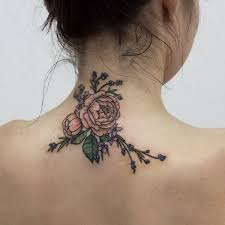 Flowers Tattoo On The Back Of Neck For Girls