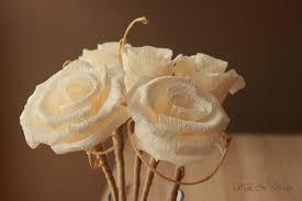 Rustic Wedding Centerpiece 6 Stemmed Paper Roses Flower Arrangement Country Chic Decor Table