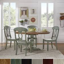 5 Piece Oval Dining Room Sets by Eleanor Sage Green Solid Wood Oval Table Napoleon Back 5 Piece