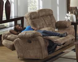 desmond power lay flat reclining console loveseat in mushroom